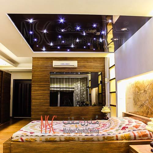 نورپردازی در سقف کشسان اتاق خواب